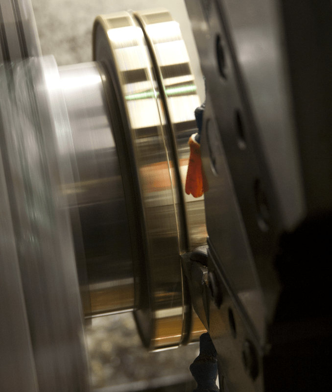 Multi-axis lathe machining.
