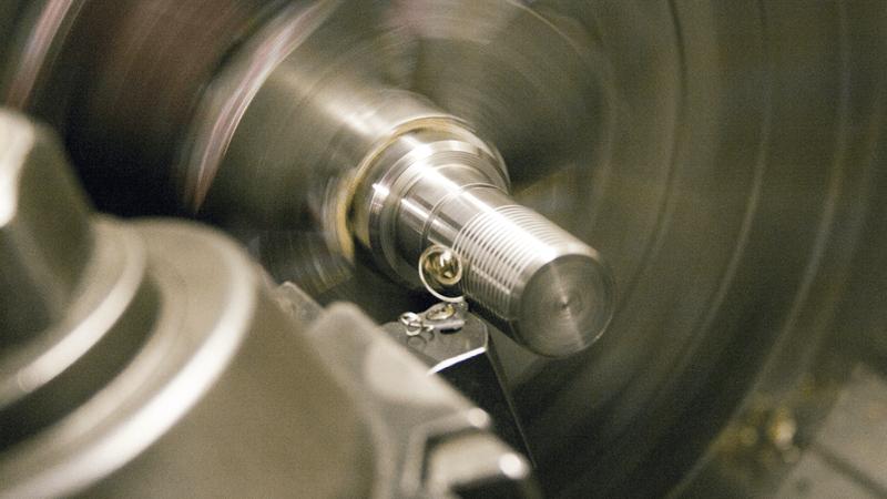 Thread turning on a custom chrome rod.